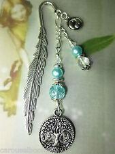 Beaded Bookmark Life Tree & Yin Yang Blue Handmade Silver Design Gift Idea ^
