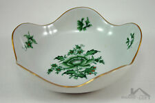 Herend Hungary Fine China Round Scalloped Dish Nanking Bouquet Vert 7707/NBV