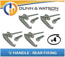 Chrome Plated Rear Fixing 'L' Lock / Handle (Trailer Caravan Canopy Toolbox) x4