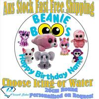 20cm Round Beanie Boo Image Icing or Wafer Cake Topper Kids Birthday