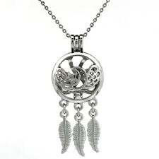 K760 Dream Catcher Wing Moon Star Beads Cage Locket Necklace - Girl Gift Charms