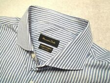 Massimo Dutti Blue & White Striped Pattern 100% Cotton Sport Shirt NWT XL 18