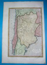 1837 ORIGINAL MAP SOUTH AMERICA ARGENTINA PATAGONIA CHILE BUENOS AIRES SANTIAGO
