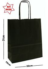 10 x Black Paper Party Gift Bags ~ Boutique Shop Loot Carrier Bag - SIZE A4