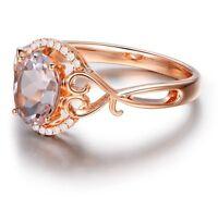 1 Carat Morganite Vintage Rose Gold Plating Antique Engagement Silver Rings