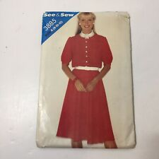 See & Sew 3885 Size 8 10 12 Misses' Dress