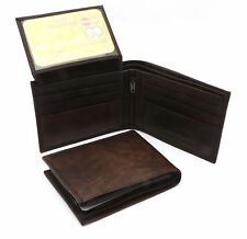 Bifold L Shape Fold Genuine Leather Dark Brown Compact Wallet - Zipper Pocket