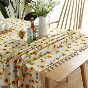 Sunflowers Tablecloth Coffee Table Cover Tassel Table Cloth Party Home Decor