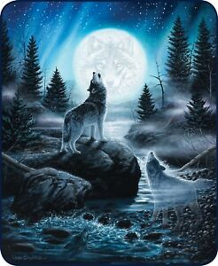 Queen Spirits Of The Wild Howling Moon Wolf Wolves Faux Fur Blanket Super Plush