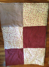 Handmade Burgundy White Floral Quilt Bed Spread Yarn Ties Blanket 61X79 inches