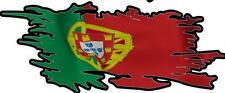 SET of 2  PORTUGAL  PORTUGESE RIPPED FLAGS 75MM BY 30MM GLOSS LAMINATED