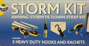 Awning Storm Tie Down Strap Kit - 3 x 4m Straps and Cam Buckles - Camping BG400