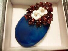 Blue Agate, Indian Garnet, Freshwater Pearl, White Shell Brooch/Pendant