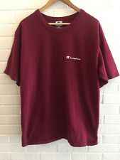 Vintage 90's Champion Spell Out T-Shirt Maroon Burgundy Men's Size Large