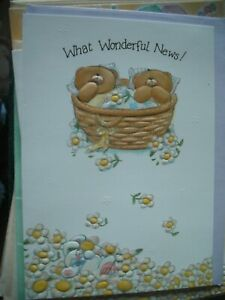 What Wonderful News TWINS (Bears in Basket) Forever Friends Card