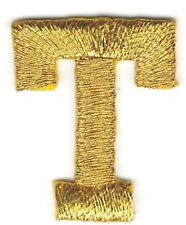 """1"""" Tall Bright Metallic Gold Monogram Block Letter T Embroidery Patch"""