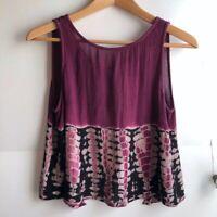 LA HEARTS Purple Black Tie Dye Sleeveless Tank Rayon Open Back Crop Top Small