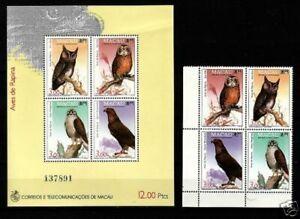 Macau 1993 Birds of Prey (1ms + 4v Cpt) MNH CV$28