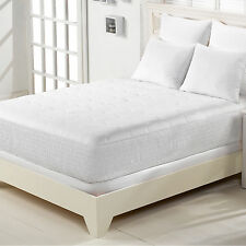 Eggshell Mattress Pad Cotton Top White Queen Size w/ Ribbed Sturdy Stay on Pads