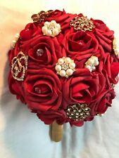 Sparkle Rhinestone Brooch/Pearls Bouquet Bride Wedding Silk Red Rose