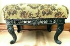 Vintage Needlepoint Victorian Footstool with Ornate Cast Iron Base and Legs