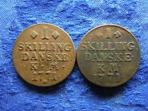 DENMARK 1 SKILLING 1771, KM616, 2 different