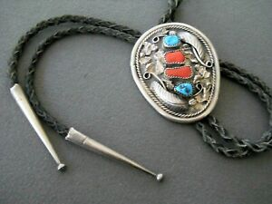 Southwestern Native American Navajo Turquoise & Coral Sterling Silver Bolo Tie