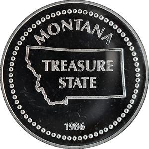 1 oz Silver Round 1986 Johnson Matthey JM Big Sky Country Montana .999 Fine