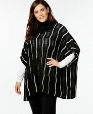 NY Collection Plus Size Cowlneck Striped Poncho Black 2X