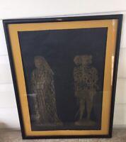 """KING GEORGE ANNE BOLEYN Framed gold leaf rubbed portrait 15"""" x 19"""""""