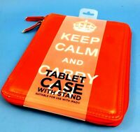 Robert Frederick IPAD CASE With Stand KEEP CALM AND CARRY ON Design In Red