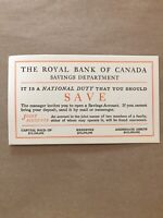 The Royal Bank Of Canada Savings National Duty Card Joint Accounts Paper E84