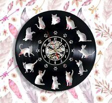 Cats vinyl wall clock 12 inches cats lover gifts animal wall clocks black cat