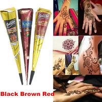 Temporary Tattoo Natural Herbal Henna Cones Body Art Paint Mehandi Ink 3 Colors