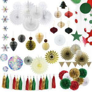 Christmas Paper Decor Hanging Banner Garland Wedding Birthday Prop Ornaments
