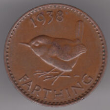 United Kingdom 1/4d Farthing 1938 Bronze Coin - Wren