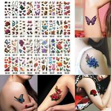 36 Sheets Temporary Tattoos 3D Flower Butterfly Fake Tattoos Body Art Sticker