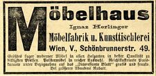 Ignaz Herliner Wien Möbelfabrik u. Kunsttischlerei Historische Annonce 1910