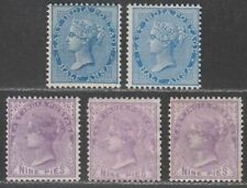 More details for india 1873-74 queen victoria ½a, 9p shades mint sg75-78