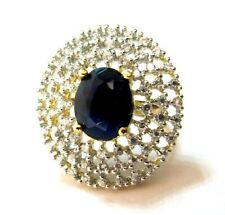 Indian Bollywood Cocktail Ring Blue Stone AD Indian Women Jewelry Love Fashion