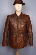 Stunning Vtg 40s HALF BELT Leather Motorcycle Sports Jacket Small