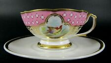 French Antique Old Paris Porcelain Cabinet Tea Cup and Saucer Birds Hand Painted