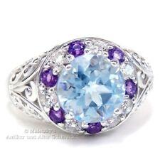 925er Silber Ring mit 2,4 ct Blautopas, weißem Topas & Amethyst 17,8 mm Gr. 56