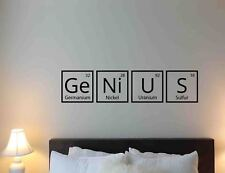 Genius Science Wall Decal Periodic Table School Vinyl Sticker Poster Art 703