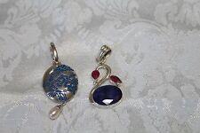 2 Sterling Silver Pendants 1 Enhancer w/Asian Design Drop Pearl, 1 Ruby/Sapphire