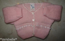 Baby Girl Pink Fluffy Embroidered Ribbon Knitted Cardigan Jumper NB-3-6 mths