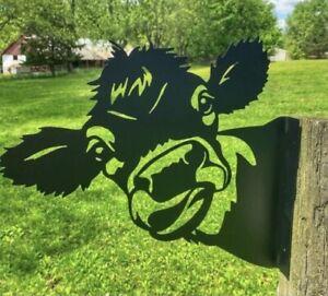 "NEW 11.5"" x 9.25"" Black Iron Funny Face Cow Farmhouse Post Mount Yard Decor"