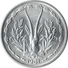 1961 West African States 1 Franc Coin KM#3.1 UNC