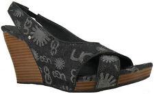 New $150 UGG Australia Hazel Denim  Women Toe Open Shoes US 8 M  Black