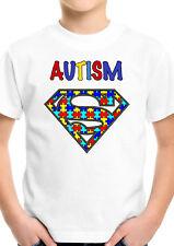 Autism Kids awareness is my super power superman logo Boys Girls T Shirt 1764